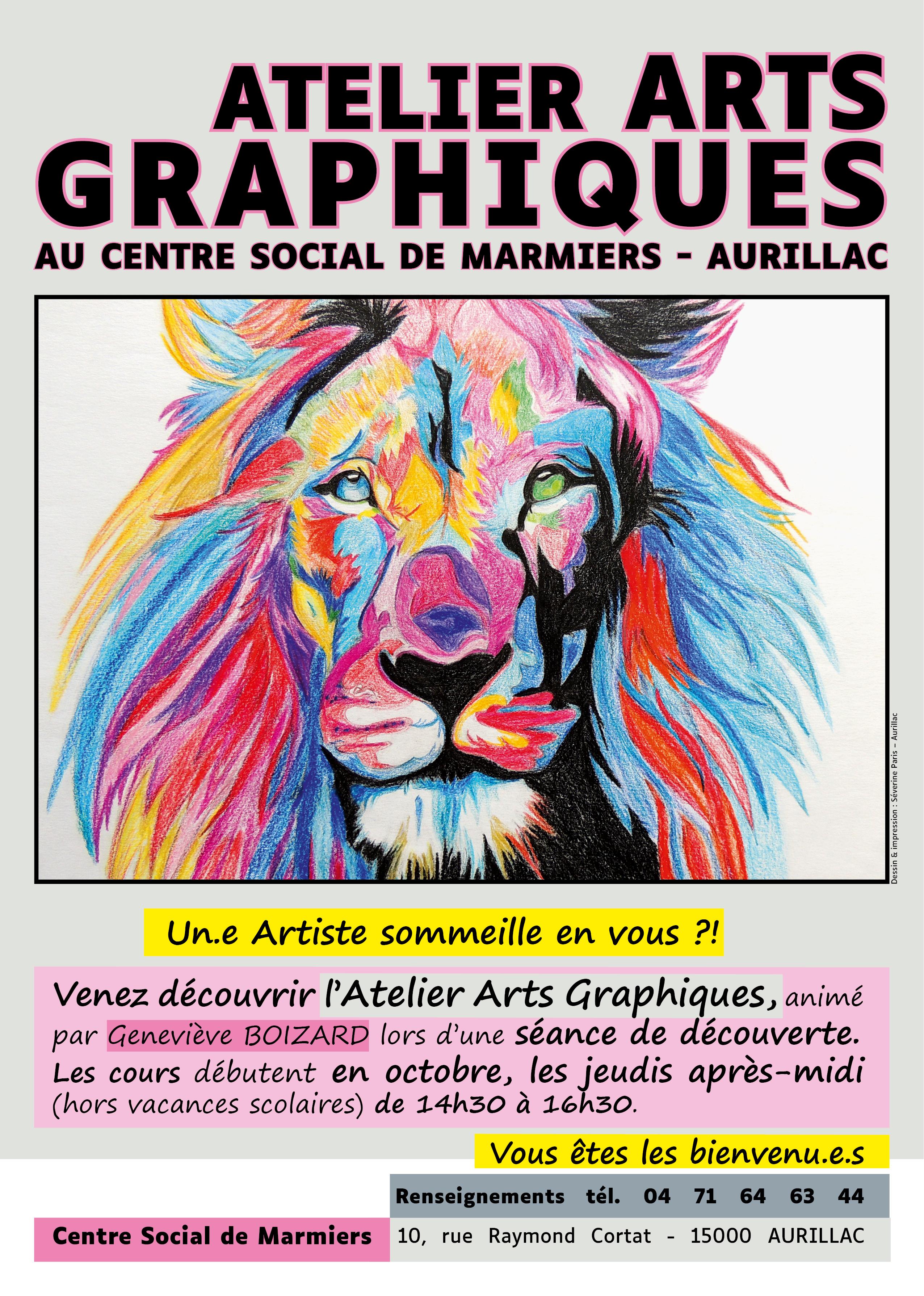 Affiche pour l'Atelier Arts graphiques au CSM - Aurillac