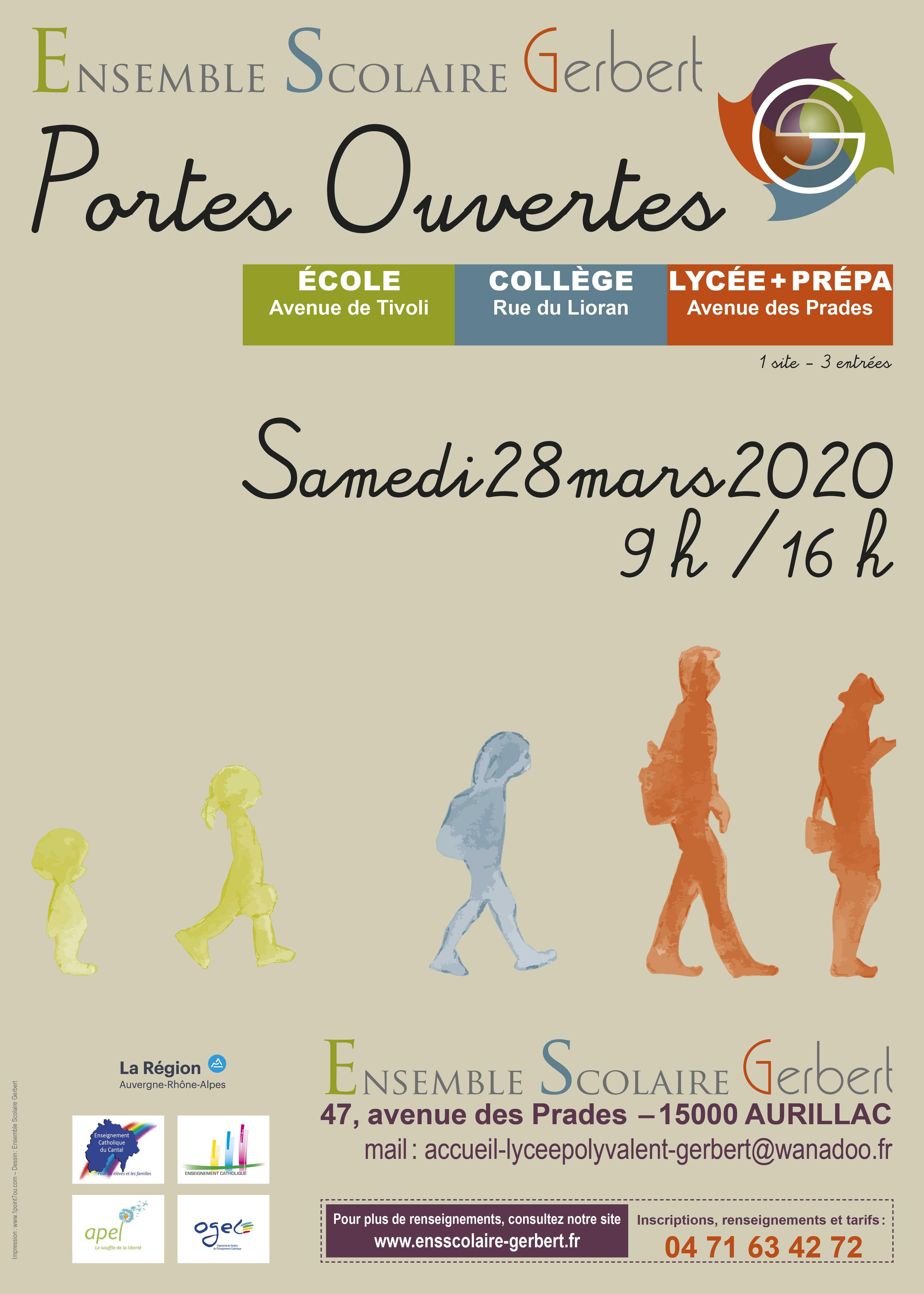 Ensemble Scolaire Gerbert - Portes ouvertes - Samedi 28 mars 2020