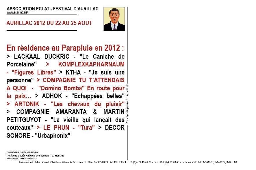 Association Eclat | Festival international de théâtre de rue | Aurillac | Carte de vœux 2012