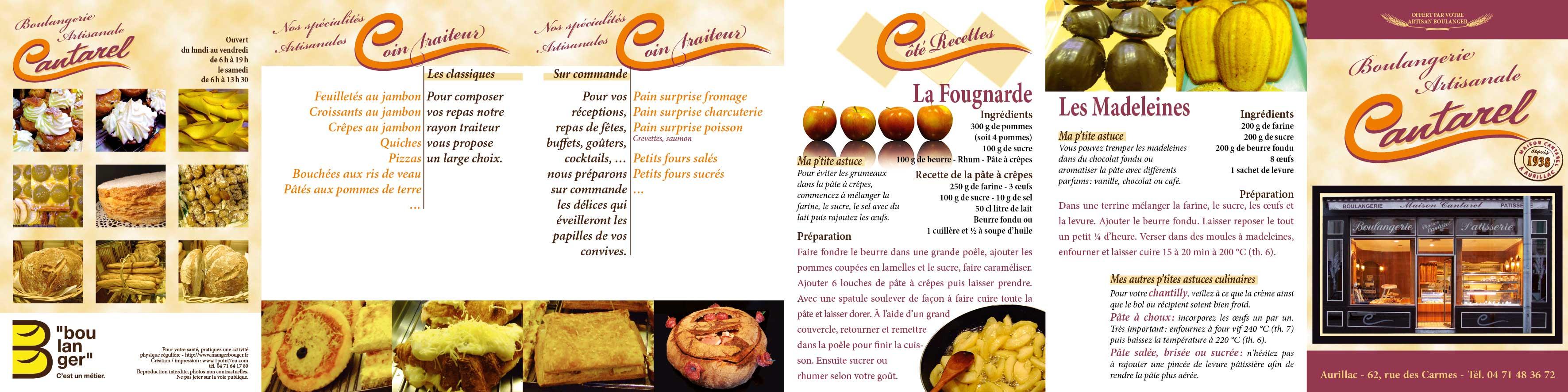 | Boulangerie Cantarel - Aurillac | Dépliant 12 pages | Format Ouvert: 60x15 cm