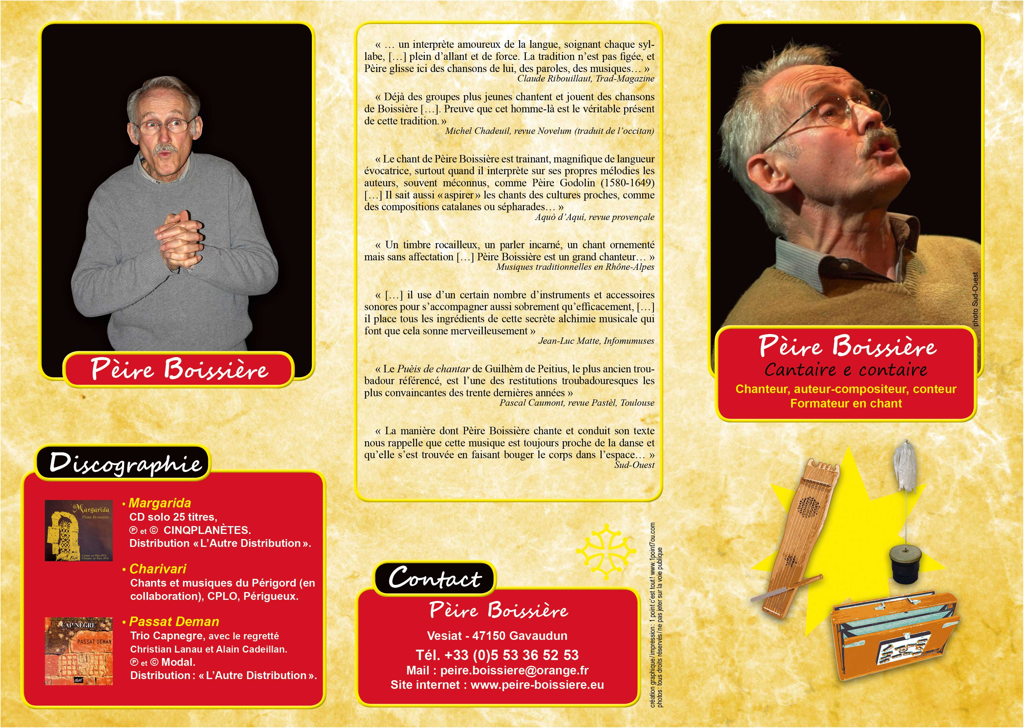 PÈIRE BOISSIÈRE Chanteur, auteur-compositeur, conteur, formateur en chant